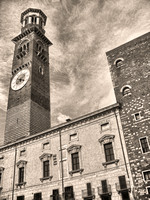 """Lamberti's Tower"", Verona, architecture, bells, bricks, clock, ""historical monument"", museum, ""romeo & Juliet"", structure, tourism, tower"