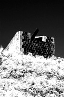 "cannon, fortress, fort, building, structure, "" black & white"", infrared, defense,  details"